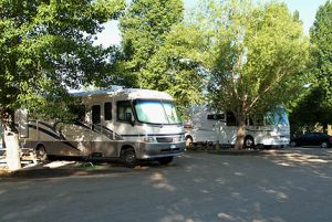 Motor home in RV site