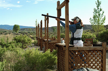 Woman shooting clays at Five Stand