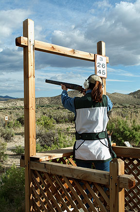 Sporting clay shooter at Five Stand